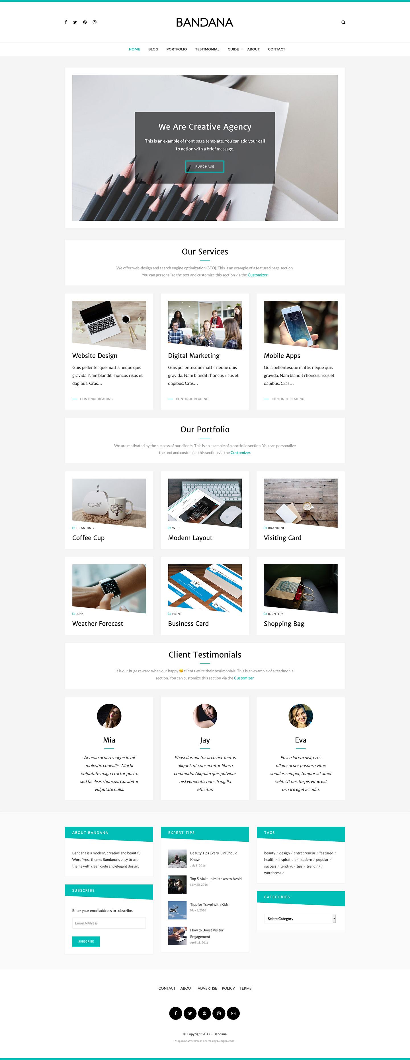 Bandana multipurpose wordpress theme designorbital screenshot fullscreen magicingreecefo Gallery